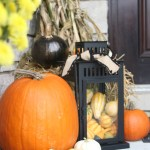 Fall Front Porch A Touch Of Gold Painted Pumpkins Lanterns Hay Cornstalks Diy This Is Our Bliss