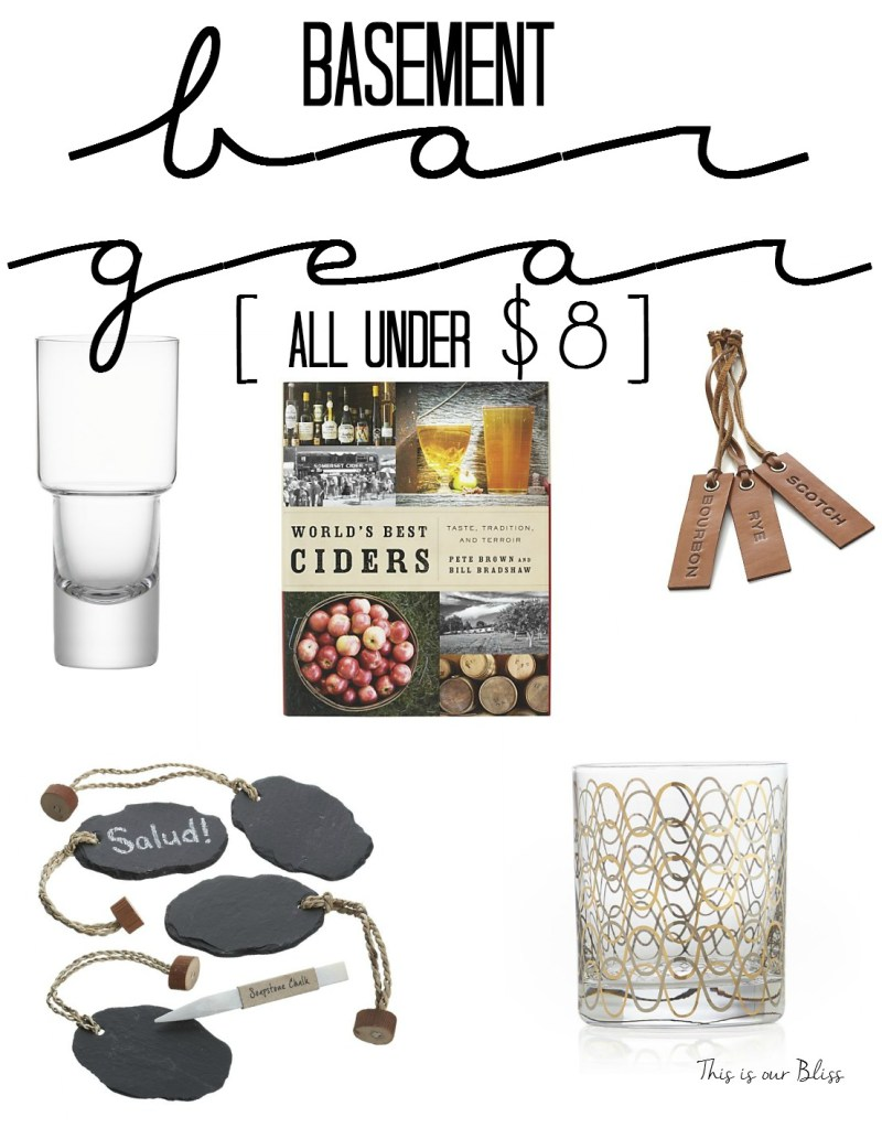 5 fab friday finds - basement bar gear - bar accessories -under $8 - father's day gift ideas - crate & barrel - this is our bliss