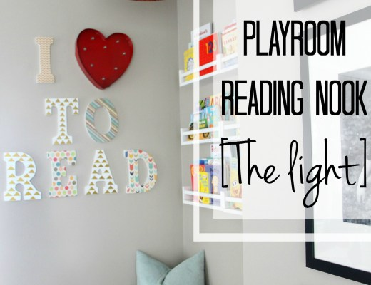 DIY Playroom reading nook - the light - swag light - black and white - DIY playroom ideas - This is our Bliss