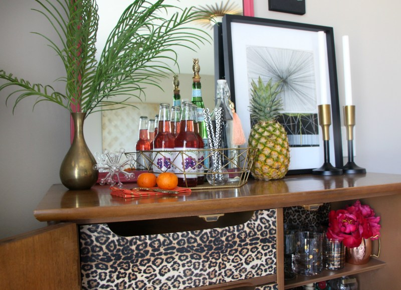 Eddie Ross Style Inspired by DIY | Indoor Summer bar styling | Thrifted dresser turned bar | This is our Bliss