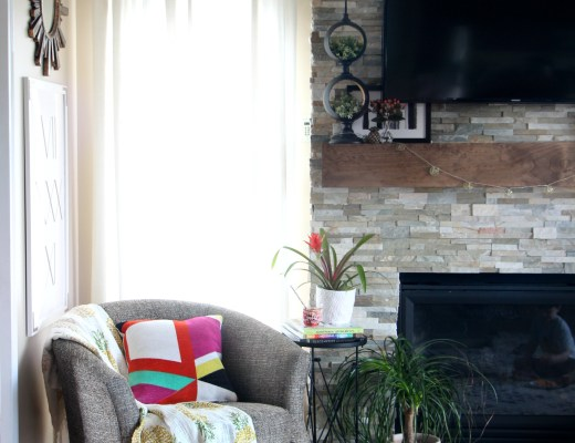 Summer Home Tour | summer styled family room and mantel | bold pops of color for summer | Eclectic Summer Home Tour | This is our Bliss | www.thisisourbliss.com