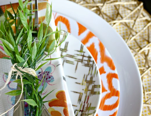 Faux Greens tied to silverware with twine | simple summer table This is our Bliss | www.thisisourbliss.com