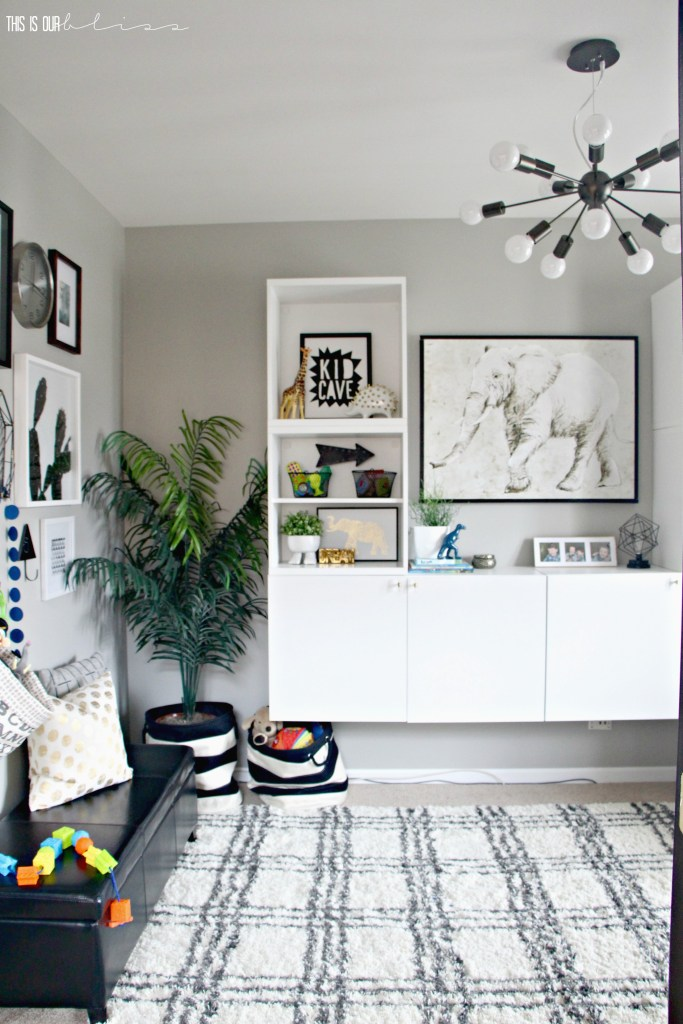 Modern Kids Playroom stylish and bold modern playroom reveal | this is our bliss