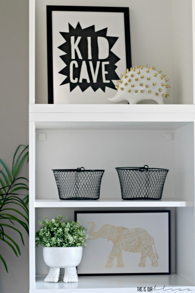 Stylish and Bold Modern playroom shelf styling | Storage and organization in the playroom | This is our Bliss || www.thisisourbliss.com