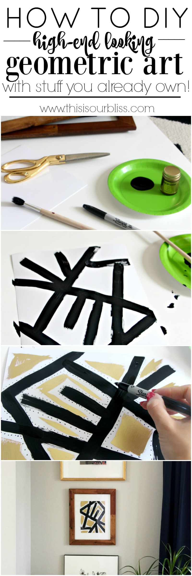 How to DIY Geometric Art that Looks High-end using Supplies you OWN | This is our Bliss