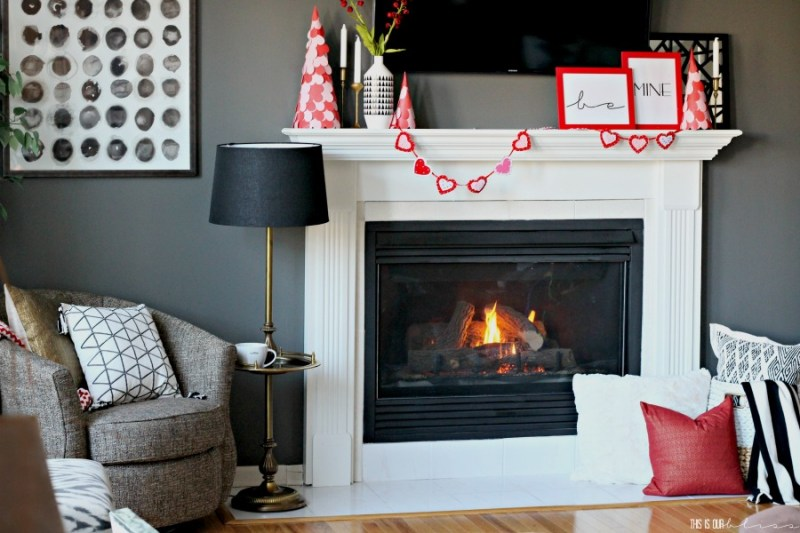 How to create a Simple Valentine's Day Mantel | Easy mantel styling Ideas using pops of Red & Pink | This is our Bliss