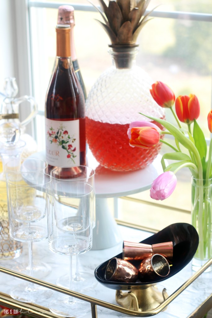 Adding a few Spring Touches to the Bar Cart | Spring Bar Cart Styling in the Dining Room | This is our Bliss