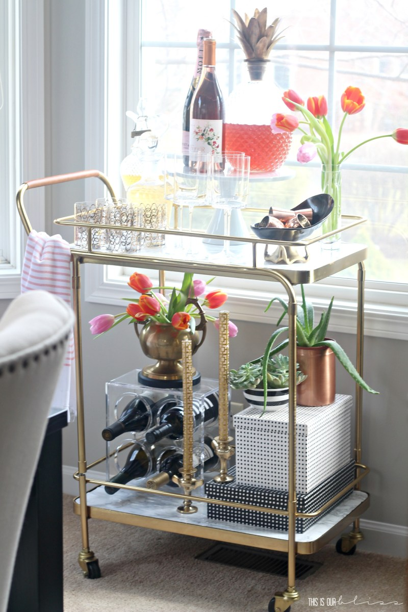 Bar Cart Styling | Adding a Few Spring Touches