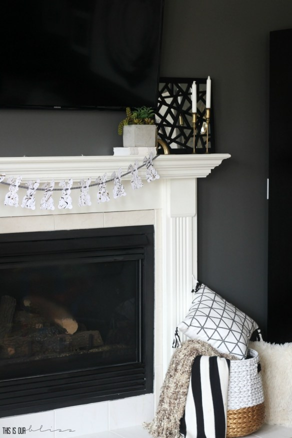 DIY Splatter Paint Bunny Garland | Chic, Simple Easter Mantel | This is our Bliss
