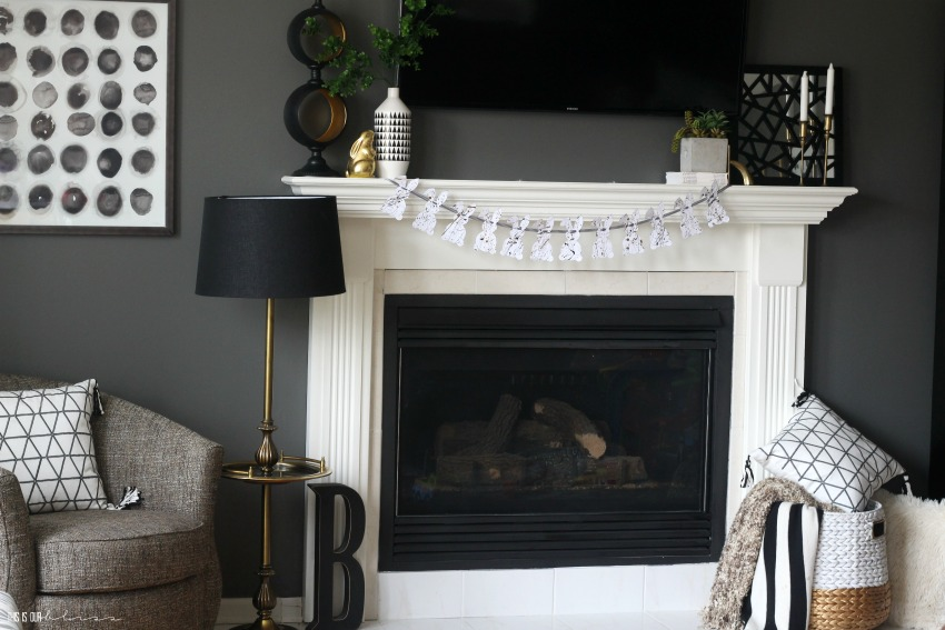 DIY Splatter Paint Bunny Garland on My Chic & Simple Easter Mantel