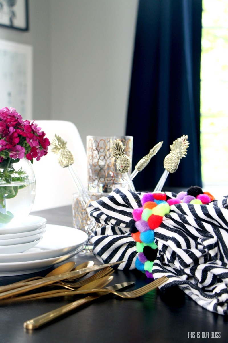My Dollar Store DIY | All Things Summer | DIY Colorful Napkin Ring Holders | www.thisisourbliss.com