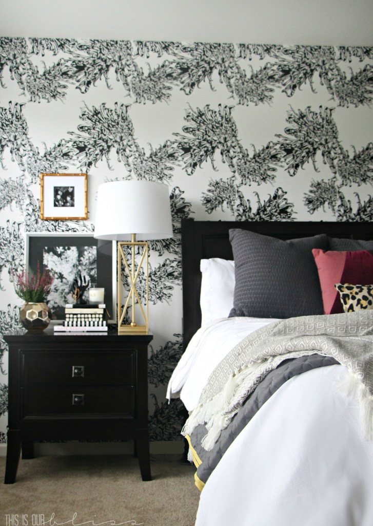 Master Bedroom Accent wall with Wallpaper | The beginning stages of a Chic Modern Eclectic Room Refresh | www.thisisourbliss.com