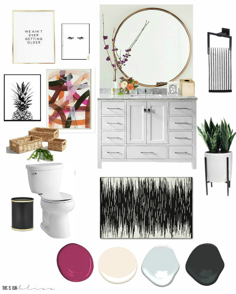 $100 Room Challenge   Feminine & Fun Powder Room Refresh Mood/Inspiration Board