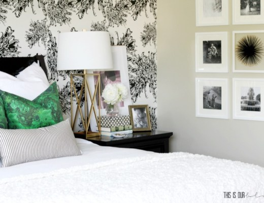 Simple Tips for How to Hang a Gallery Wall | White Frame Gallery Wall in the Master Bedroom