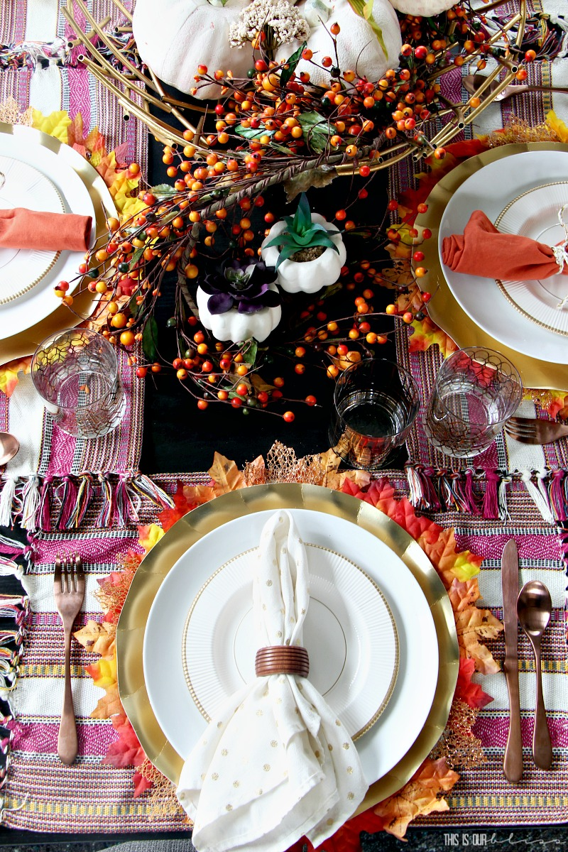 A Burnt Orange and Berry Fall Tablescape   Fall Dining Room decorating ideas