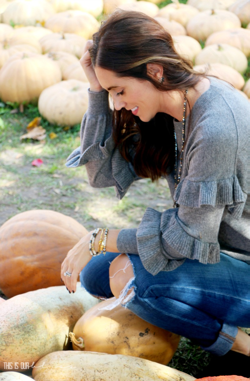 Gray Ruffle Sweater at the Pumpkin Patch! This is our Bliss Ruffle Favorites