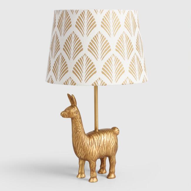 Golden Llama Treasure Hunt | Llama lamp at Cost Plus World Market
