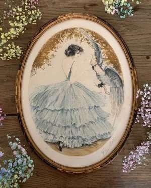 Gravure d'époque art déco représentant une femme.