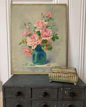 Ancienne peinture bouquet de roses.