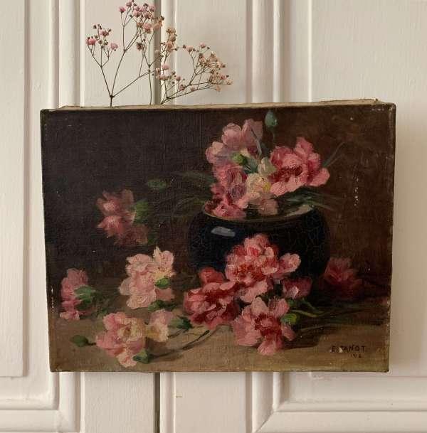 Peinture ancienne représentant des fleurs roses.