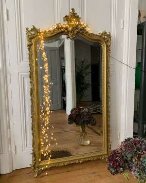 miroir ancien fronton doré