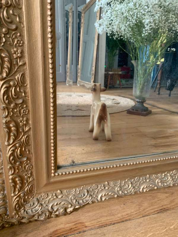 ancien miroir 1900 fronton en bois et stuc doré