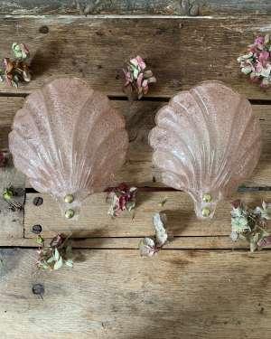 Paire d'appliques lumineuses coquillages en verre de murano vintage