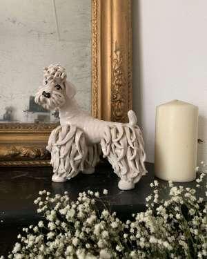 statuette chien caniche vintage en porcelaine