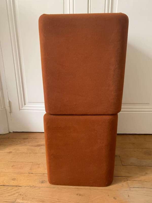 paire de chevets vintage 70s en tissu