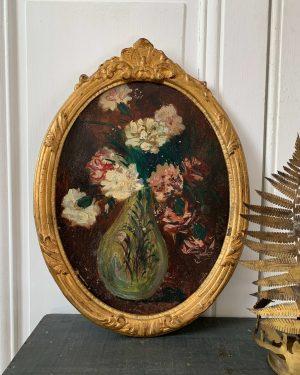 ancienne peinture à l'huile fleurs cadre ovale