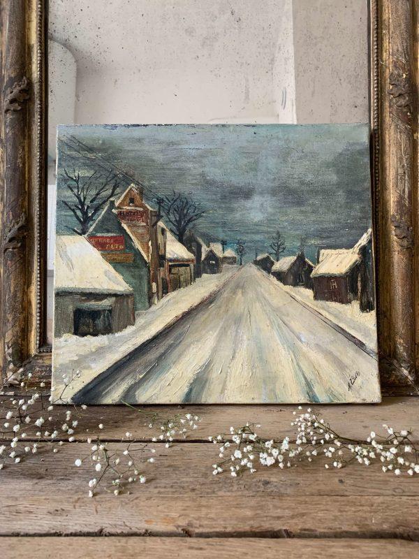 ancienne peinture à l'huile paysage noel