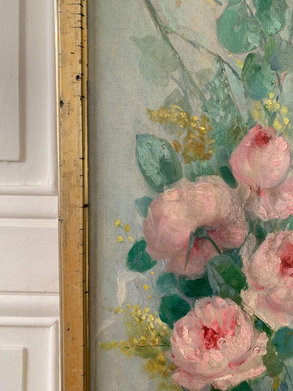 ancienne peinture à l'huile roses et mimosas
