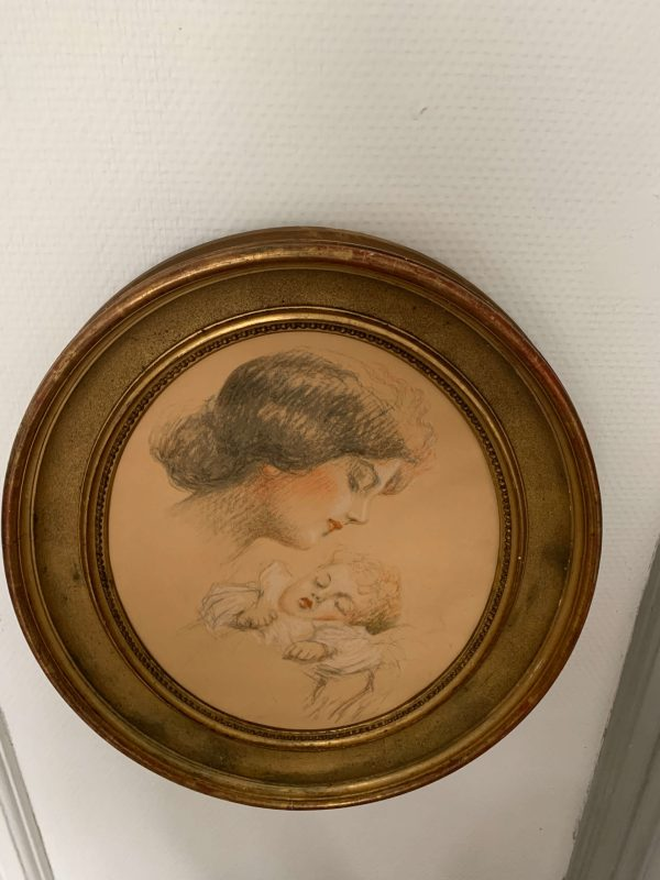 ancien cadre art deco maternite dessin