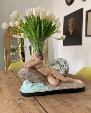 ancienne statuette femme art deco ancienne en platre