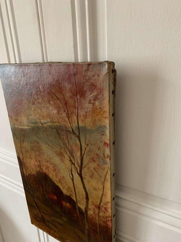 ancienne peinture à l'huile paysage sur toile