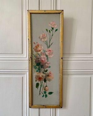 ancienne peinture à l'huile roses et oeillets