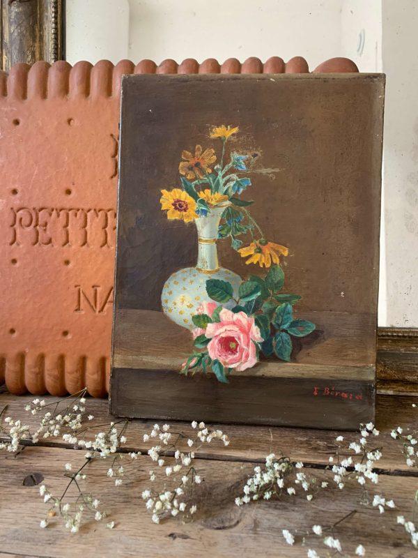ancienne peinture a l'huile fleurs