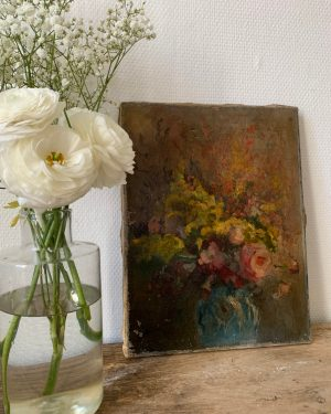 ancienne peinture à l'huile fleurs sur toile