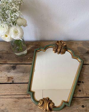 ancien miroir coquille de style louis XV en bois et stuc