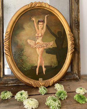 ancienne peinture à l'huile danseuse cadre médaillon