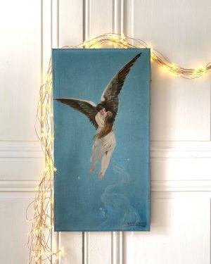 ancienne peinture à l'huile anges enlacés