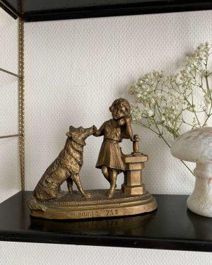 """statuette art déco fille et chien """"bouge pas"""""""