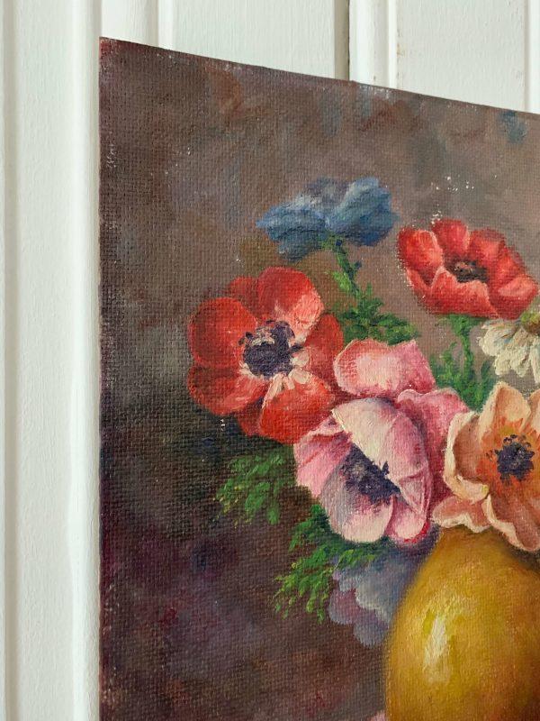 ancienne peinture à l'huile sur bois fleurs anémones