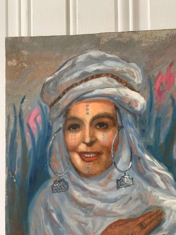 ancien portrait de femme orientaliste huile sur bois