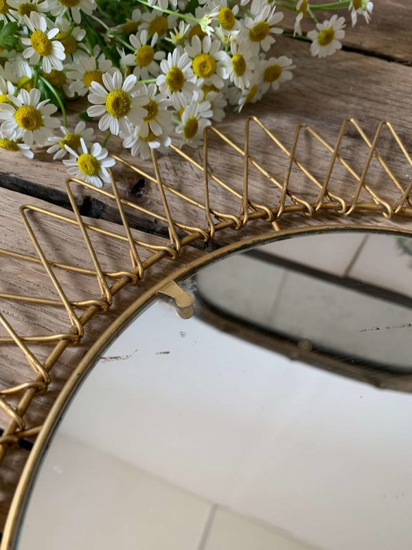 miroir soleil vintage doré retractable