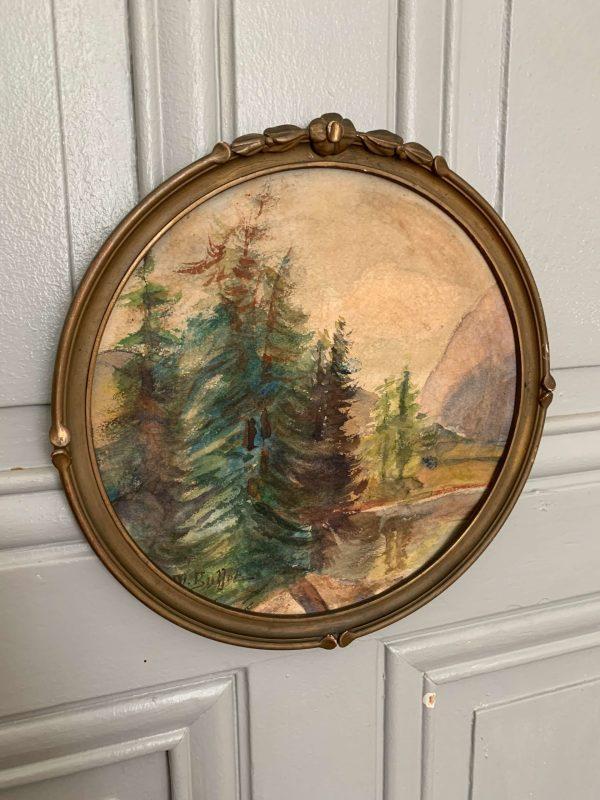 ancienne peinture aquarelle foret de sapins paysage montagne
