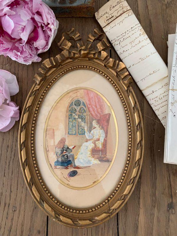 ancienne peinture aquarelle de 1901 signée louis lamontagne