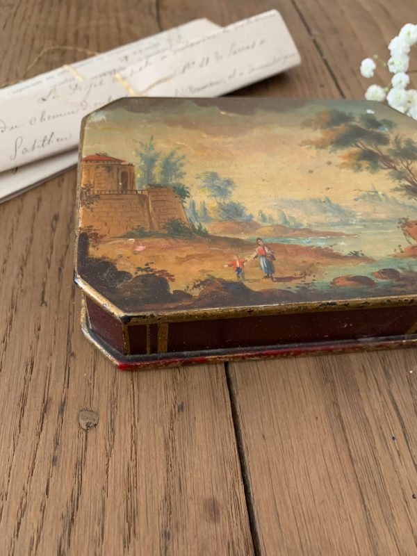 ancienne boîte peinte en bois 19ème siècle