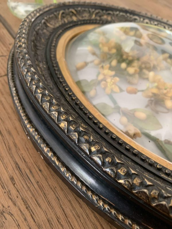 ancien cadre noir verre bombé napoleon iii parure de mariée en cire fleur d'oranger