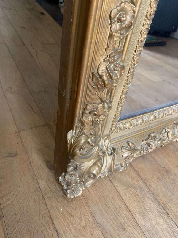 ancien miroir moulures doré bois et stuc glace au mercure